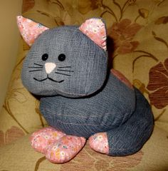 Unique Upcycled Denim Jeans Cat Cuddly by StuffingandSprings, £28.00