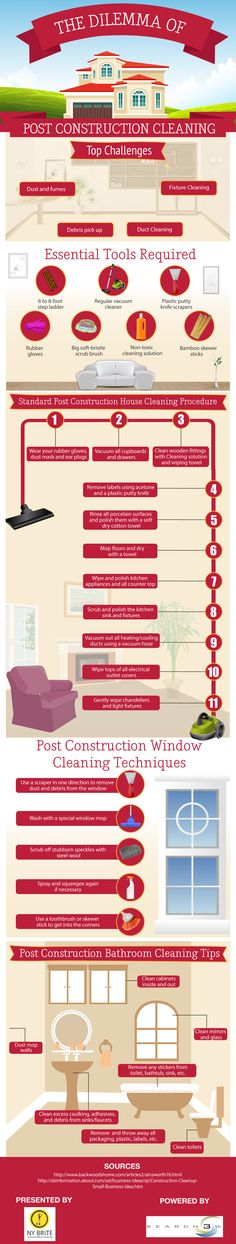 """The infographic titled """"The Dilemma of Post Construction Cleaning"""" has been created with the big idea of explaining the consumers the standard post construction cleaning techniques. This infographic will be useful for them to know the essential tools required and the top challenges faced by them."""