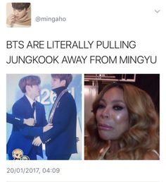 Find images and videos about kpop, bts and funny on We Heart It - the app to get lost in what you love. Kookie Bts, Bts Bangtan Boy, Bts Jungkook, Diecisiete Memes, Funny Kpop Memes, Jikook, Astro Sanha, Day6 Sungjin, Seventeen Memes