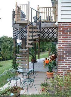 spiral staircase to access a sun deck