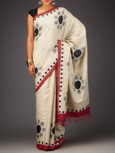 Buy Ivory Red Border Organic Silk Handwoven Saree Sarees Woven Color Carnival Vibrant and Colorful Hand Block Printed in Online at Jaypore.com