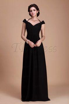 Fantastic A-Line Halter Capped Off-the-Shoulder Long Bridesmaid Dress : Tbdress.com