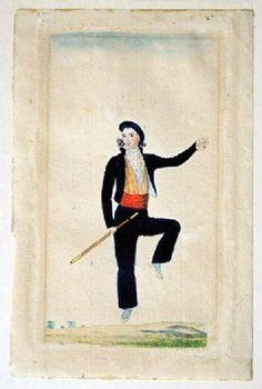 Le makhila en aquarelle au début du 19e siècle - Le blog de l'atelier Ainciart Bergara à Larressore: fabrication artisanale du makila ou makhila Blog, Costume, Baseball Cards, Folk Fashion, Basque, Watercolor Painting, Atelier, Blogging, Costumes