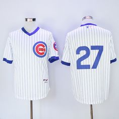 Mens Chicago Cubs Jerseys #27 Addison Russell White 1988 Throwback Pullover Cooperstown Baseball Jersey