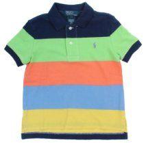 Polo Ralph Lauren Boys Striped Mesh Big Pony Logo Polo Shirt