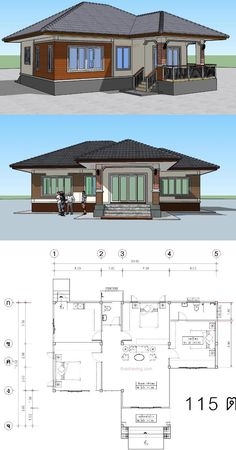 Perfect For Those On A Budget: Single Storey House Plan - Ulric Home Bungalow Haus Design, Modern Bungalow House, Bungalow House Plans, Single Storey House Plans, One Storey House, Free House Plans, Family House Plans, Style At Home, West Facing House