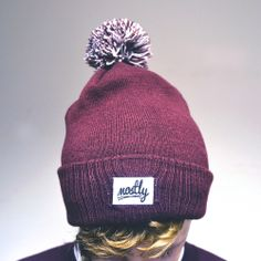 mostly Burgundy Bobble Beanie 4 Pound