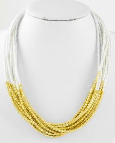 Gold Tone / White Acrylic Seed Beads / Lead Compliant / Multi Strand / Necklace
