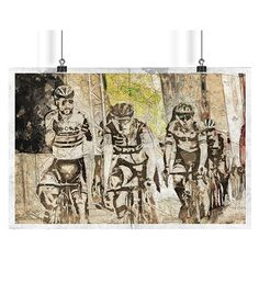 Complex sketch artwork of moment signifies interaction between rivals & legends of modern cycling: Peter Sagan & Greg Van Avermaet suitable as decor for your postmodern interior. Painting uses technical pen & pencil sketch with watercolour features as well as architectural texture.   Graphic set for download is available in .jpeg, .png and .tif. Physical painting with 3D futuristic feature coming soon (disposition for viewing according request). Resolution 300 ppi and size 4170 x 2730 px.