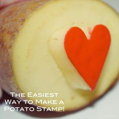 We use potato stamping for all kinds of thing – like this DiY wrapping paper made (with this heart stamp)… This is a simple way to make a classic potato stamp –… Potato Stamp, Potato Print, Vegetable Crafts, Potato Vegetable, Diy Wrapping Paper, Wrapping Ideas, Gift Wrapping, Homemade Stamps, How To Make Potatoes
