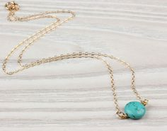 Turquoise necklace gold necklace turquoise and by OlizzJewelry
