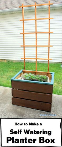 Click to read the easy step by step tutorial how to make a wood self watering planter box wtih a trellis. Easy!