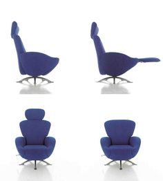 Furniture, Appealing Bright Blue Color Awesome Recliner Chair With Great Leg Design Footrest And Headrest: Well-Liked Compact Recliner Chair...