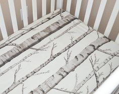 Woodland mattress cover for infant Rustic nursery by LoveLilaAnn