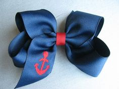 Monogrammed Anchor Hair Bow4 Inches by belovedbows on Etsy, $5.00