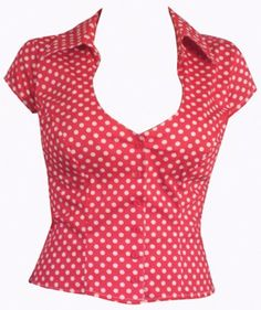 Red polka dot blouse-so cute with white jeans or slacks Blouse Desings, Corset Shirt, Sewing Blouses, Inspiration Mode, Couture Tops, Diy Clothing, Red Blouses, Blouse Styles, Chiffon Tops