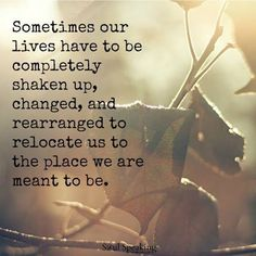 Sometimes our lives have to be completely shaken up, changed, and rearranged to relocate us to the place we are meant to be.