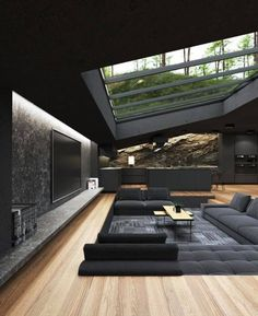 Total Black Inspiração Dream Home Design, Modern House Design, Home Interior Design, Interior Architecture, Amazing Architecture, Interior And Exterior, Modern Architects, Building Design, House Plans