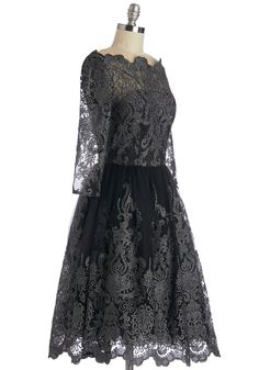 Gilded Grace Dress in Noir. You step down the staircase of the hotel in this gilded black dress by Chi Chi London feeling like a beauty from a bygone era! #black #prom #modcloth