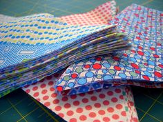 Another bunting tutorial, this one uses coordinating fabrics for each side of the flags.