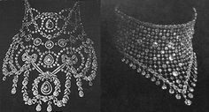 The piece on the left is Queen Alexandra's collier résille. Her source was Cartier. The necklace on the right appears to be the one worn by Queen Alexandra and Queen Mary, whose alterations would have included the removal of the garland borders.