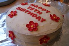 Another one of cakes, this time a victoria sponge cake, buttercream frosting and red flowers and letters Victoria Sponge Cake, Buttercream Frosting, Red Flowers, Flower Cakes, Desserts, Letters, Anniversary, Food, Corinthians 13