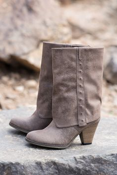 All American Taupe Fold Over Boot