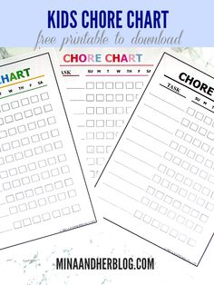 Use this free printable Chore chart for the kids. With three different colors to choose from.