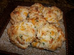 Red Lobster Cheddar Bay Biscuits. This is the closest recipe that I've found that tastes like my beloved RL biscuits. Yum.