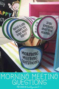 Morning Meeting Questions these are such a wonderful idea for students who are not great and asking questions or who have fears of talking aloud 2nd Grade Classroom, Classroom Behavior, Classroom Environment, Future Classroom, Classroom Meeting, Kindergarten Classroom Organization, School Organization, Classroom Themes, Building Classroom Community
