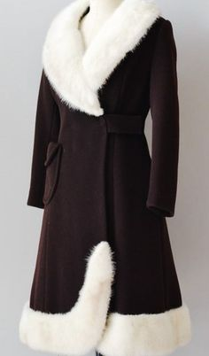 1950 | Black Wool Coat with White Mink Trim and Oversized Left Side Pocket by Lilli Ann