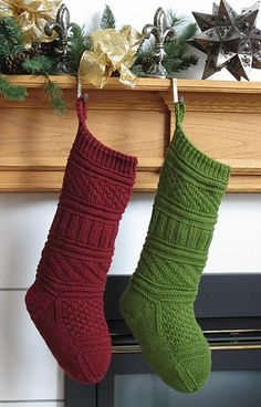 This stocking is knit using knit and purl stitches in different patterns to create a unique design that is simple to knit but creates a beautiful finished stocking.