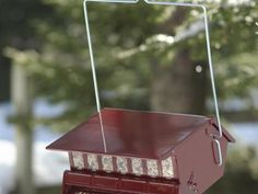 Save that expensive birdseed with this candy apple-red  Squirrel-Proof Birdfeeder . The spring-operated perch closes off access to the seed when a heavy squirrel lands on it. You can adjust the weight setting to deter larger birds, too, so small songbirds can feed in peace.