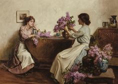 Albert Chevalier Tayler (English painter) 1862 - 1925 Women Arranging Flowers, 1906 oil on canvas 51 x cm. Oil Painting On Canvas, Canvas Art Prints, Famous Art Paintings, Oil Paintings, English Artists, Pre Raphaelite, Impressionist Art, Oil Painting Reproductions, Pictures To Paint