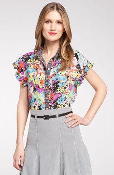 Nanette Lepore 'Sparkle' Ruffle Sleeve Silk Shirt