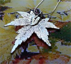 Real Leaf Jewelry, Japanese Maple Necklace Pendant,Sterling Silver, Custom Patinas, Natures Leaves. $14.95, via Etsy.