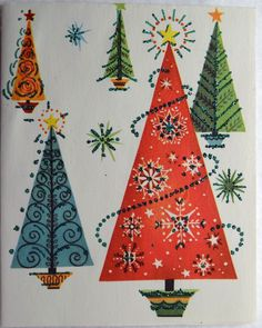 50s Mid Century Modern Glittered Trees Christmas Greeting Card