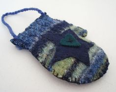 Wool Mitten Ornament Recycled Felted Sweater Blue Green Star Heart. $8.00, via Etsy.