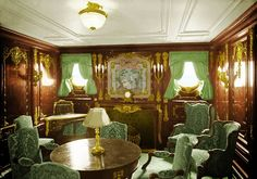 Smoking room for first class on Titanic