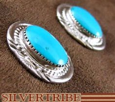 Turquoise And Sterling Silver Earrings Jewelry AS51043