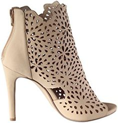 Delicious Women's Fatina Floral Laser Cut Open Toe Stiletto Heel Bootie (8 B(M) US, Natural)