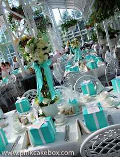 There's nothing better than having 'Tiffany' inspired decorations to compliment your 'Tiffany cake', it's the perfect finish! 'Tiffany' inspired weddings have used 'tiffany' boxes as table. Tiffany Blue, Tiffany Theme, Tiffany Party, Tiffany Wedding, Tiffany's Bridal, Blue Bridal, Bridal Hairdo, Purple Wedding, Wedding Themes