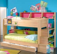 Bunk Beds For Kids With Stairs Bear Bedding Motif Before The Olive Wall Dark Stained Pine Wood Bunk Bed Light Blue Sporty Fur Rug Wheat Wall : Home Design Ideas also Interior Decorating Loft Bed Storage, Bunk Beds With Storage, Wood Bunk Beds, Modern Bunk Beds, Modern Loft, Childrens Bunk Beds, Kids Bunk Beds, Loft Beds, Bunk Bed With Desk