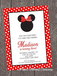 Minnie Mouse Birthday Invitation with FREE Matching Return Address Labels. $1.00, via Etsy.