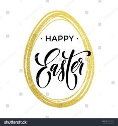 Happy Easter text lettering with gold glitter paschal egg on white background. Vector illustration