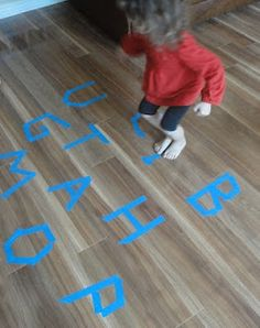 Learners in Bloom: Phonics Jumping Game (with Video!) adapt for classroom with words laminated and Velcro dots which stick on the floor to prevent slipping when students jump onto them