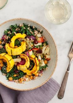 This delicious kale and squash salad has it all. And a scrumptious dressing we'll be using on other dishes, as well.