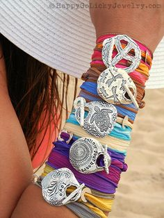 Cool Summer Jewelry, Silver Silk Wrap Bracelets by HappyGoLicky. CLICK pic to see 40+ designs now.