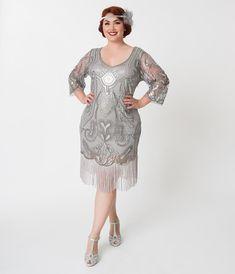 Unique Vintage Plus Size Silver Sequin Margaux Sleeved Fringe Flapper Dress Plus Size Party Dresses, Club Dresses, Sexy Dresses, Vintage Dresses, Dresses With Sleeves, 20s Dresses, Amazing Dresses, Vintage Hats, Gatsby Dress