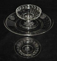 Heisey Crystal Saucer Plate Bowl Etched Flowers Laurel | eBay